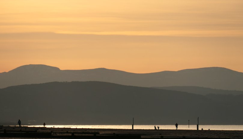 mountains from rhyl beach